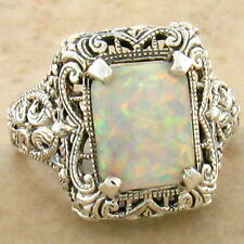WHITE LAB OPAL .925 STERLING ANTIQUE FILIGREE STYLE SILVER RING SIZE 8,#758
