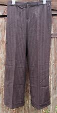 RALPH LAUREN jambe large marron à fines rayures pantalon pantalon (UK16-18) usa 12 bnwt