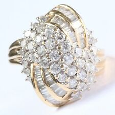 2 ct tw Real Round Diamond Cluster Waterfall Ring 14k Gold - Heavy! Size 8 1/3