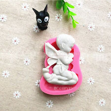 Praying Angel Baby Silicone Mould Cake Mat Fondant Embossed Decorating DIY Mold