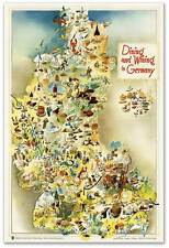 GERMAN FOOD MAP Gourmet European Dining & Wining in Germany circa 1950  24x36