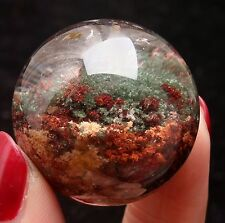 32mm Natural Multideck Red & Green Phantom Crystal Ball SPHERE Crystal Specimen
