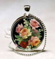 Vintage Peony Cabochon Silver plated Glass with Ball Chain Pendant Necklace