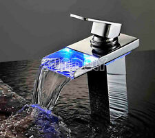 Modern Bathroom Waterfall Basin Sink Tap Led Mixer Chrome Brass Faucet