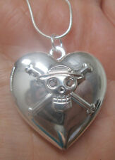 """Sterling Silver Skull and CrossBones Pirate Locket Necklace on 18"""" Snake Chain"""