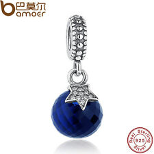 Fine Solid S925 Sterling Silver Charms Blue Ball Pandent Beads Fitting Bracelets