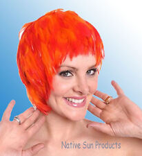 Wig FLAMING ORANGE Rooster Hackle Feathers Halloween Costume Punk Retro New