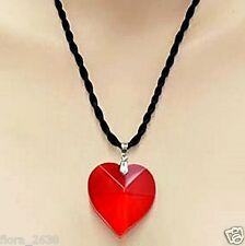 Collier, pendentif, cristal de verre, coeur, rouge, cordon noir bijoux fantaisie