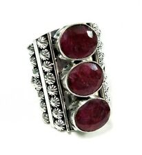Huge Natural  Royal Ruby 925 Silver Plated Beautiful Adjustable Ring