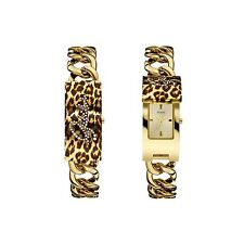 NEW GUESS LOGO POP ICON FLIP GOLD LEOPARD CHAIN LINK BRACELET LADY WATCH U0321L5