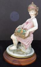 "Vintage 1981 Capodimonte by BRUNO MERLI Resin FLOWER-GIRL 7""h Sculpture Figurine"