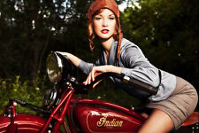 INDIAN SCOUT VINTAGE MOTORCYCLE PIN UP STYLE POSTER 24x36 HI RES