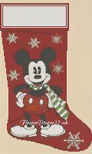 Cross stitch chart Natale calza Mickey Mouse Flowerpower 37