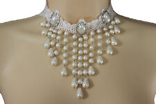 Women White Lace Fabric Goth Fashion Choker Necklace Cream Imitation Pearl Beads