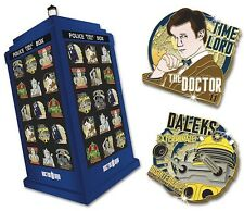 Doctor Who - Official BBC Danbury Mint - Tardis Pin Badge Stand + Pin Badges