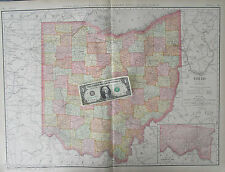 XL 1902 Dated OH Map OHIO State Wall Map RAILROADS HAMILTON County