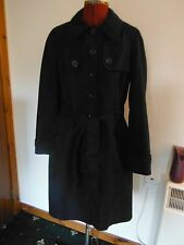 MONSOON RAINCOAT UK 12 NAVY BLUE BUTTON  FRONT POCKETS COAT LOLITA BELTED MAC