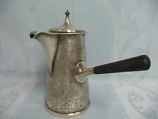 ANTIQUE AMERICAN J.E. CALDWELL ORNATE STERLING SILVER CHOCOLATE POT, WOOD HANDLE