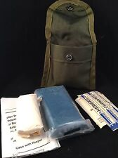 Vintage US Army Military First Aid Medic Pouch w Packet for Wounds, Field Gear
