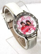 DISNEY HIGH SCHOOL MUSICAL WHITE DIAL CRYSTAL WHITE LEATHER STRAP WATCH HS1001