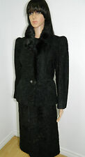 BLACK Astrakhan Broadtail  SWAKARA FUR COAT JACKET SKIRT MINK COLLAR  Sz.M