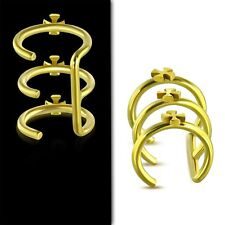 Gold Color Plated Stainless Steel Cross Triple Hoop Cartilage Ear Cuff QFX219