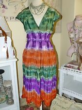 EARTH ANGEL BOHEMIAN Purple Moss Russet BOHO CHIC TIE DYE Smocked SUNDRESS 1X