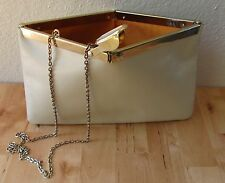 Vintage ETRA Convertible Genuine Leather Cream White Envelope Clutch Bag Purse