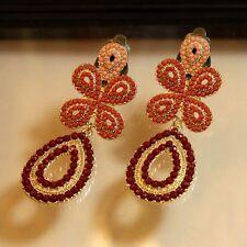 Boucles d`Oreilles Clips Longue Mini Perle Fin Rose Orange Original Cadeau A3