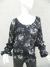 Parker Shirt Silk Black White Abstrast Peasant Blouse Tiered Ruffle Sleeve Sz M