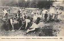 B94177 belgian soldiers digging tranches at malines  militaria military soldiers