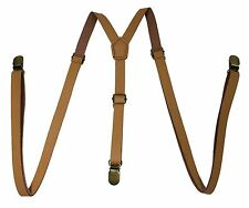 Light Brown Leather Vintage Elastic Adjustable Y-shape Gold Clips-on  Suspender