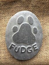 Personalised handcarved paw print & name into stone, pet memorial, dog, cat