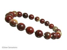 Multi Shaded Burgundy Rainbow Jasper & Sterling Silver Beaded Stretch Bracelet