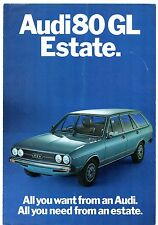 Audi 80 GL Estate 1471cc 1975 UK Market Foldout Sales Brochure
