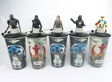 Star Wars: Rogue One Movie Promo Cinema Drink Cups Character Topper Complete Set