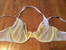 Victoria's Secret Yellow & Gray Sheer Mesh Halter Strap Unlined Demi Bra 34D NWT