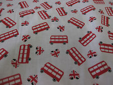 White With Red London Buses British, London Printed 100% Cotton Fabric.