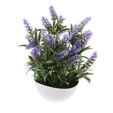 Artificial Lavender Flowers and Foliage in a White Bowl 12 Inches