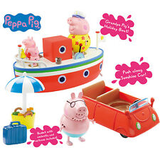 Peppa Pig Holiday Time Grandpa Pigs Boat DADDY PIG George Pig Car Boat Bundle
