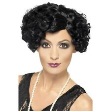 Womens Quality Black 20s Flirty Flapper Wig Short Bob Fancy Dress Gangster Curly