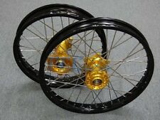 SUZUKI RM85 RM 80 85 RIM RIMS CNC HUB MX WHEELS SET GOLD 1990-2015 M RMS01