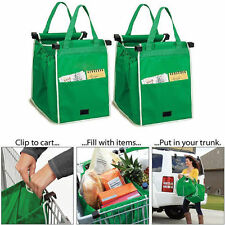 Foldable Tote Handbag Reusable Large Trolley Clip-To-Cart Grocery Shopping Bags
