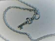 "Mystery A Designer 18"" Sterling Silver Sparkling Key Charmed Necklace"