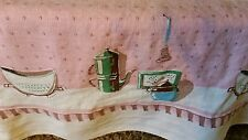 """Retro Linen Table Cloth Pink Green Off White Rectangle 51"""" x 66"""""""
