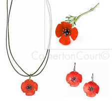 Red Poppy Brooch Pin, Necklace & Earrings Set by Michael Michaud