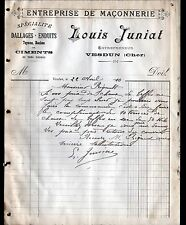 "VESDUN (18) Ets de MACONNERIE / CIMENT / DALLAGE ""Louis JUNIAT"" en 1910"