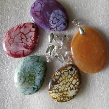 5pcs Assortiment Agate gemstone pendentifs-Carnelian, Dragon Veine-fabrication de bijoux