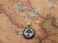 PRETTY SILVER TREE OF LIFE SPIRITUAL YOGA PENDANT NECKLACE & CHAIN