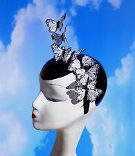 White & Black Butterfly Headband Fascinator Hat Accessory